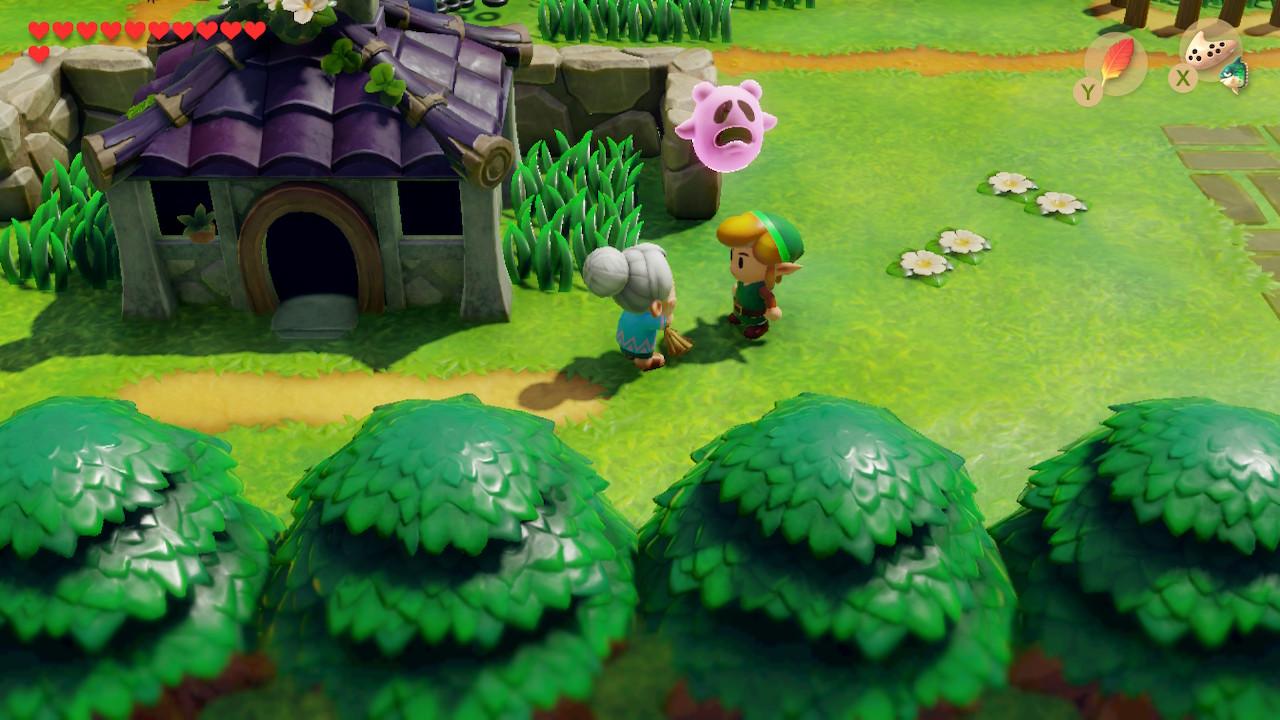 Link avec la mamie au balais et un fantome